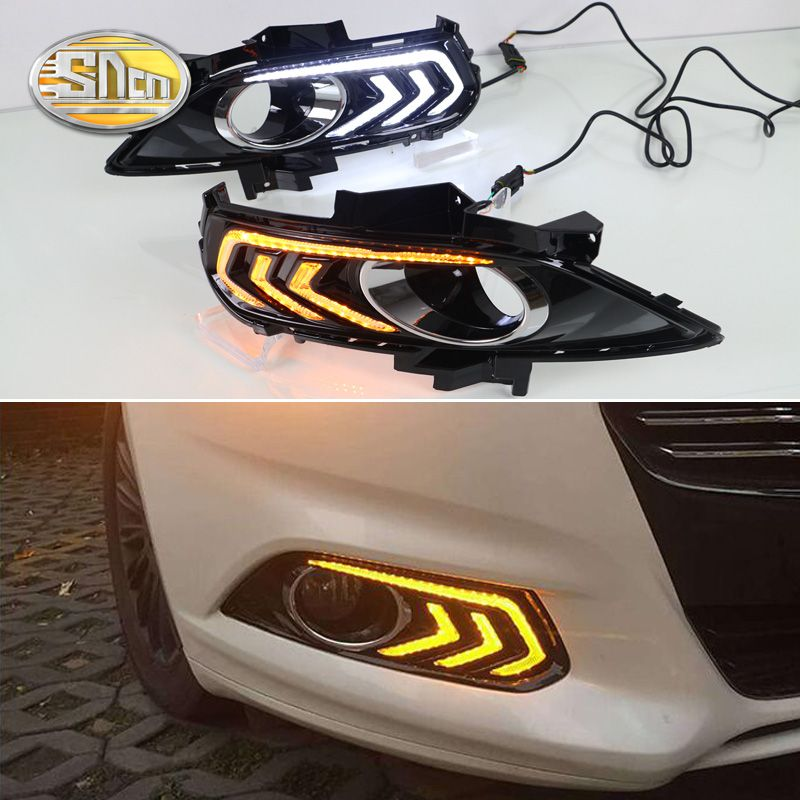 For Ford Mondeo Fusion 2013 2014 2015 2016,With Turning Yellow Signal Relay Waterproof Car DRL LED Daytime Running Light SNCN