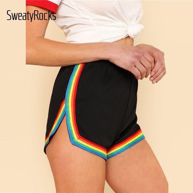 SweatyRocks Rainbow <font><b>Tape</b></font> Trim Dolphin Shorts Ladies Black Mid Waist Striped Casual Shorts 2017 Fall Elastic Waist Loose Shorts