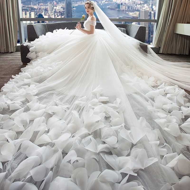 Dressv White Wedding Dress Tulle Off The Shoulder Flowers Lace Up A Line Luxurious 2018 Custom Wedding Gown Wedding Dress