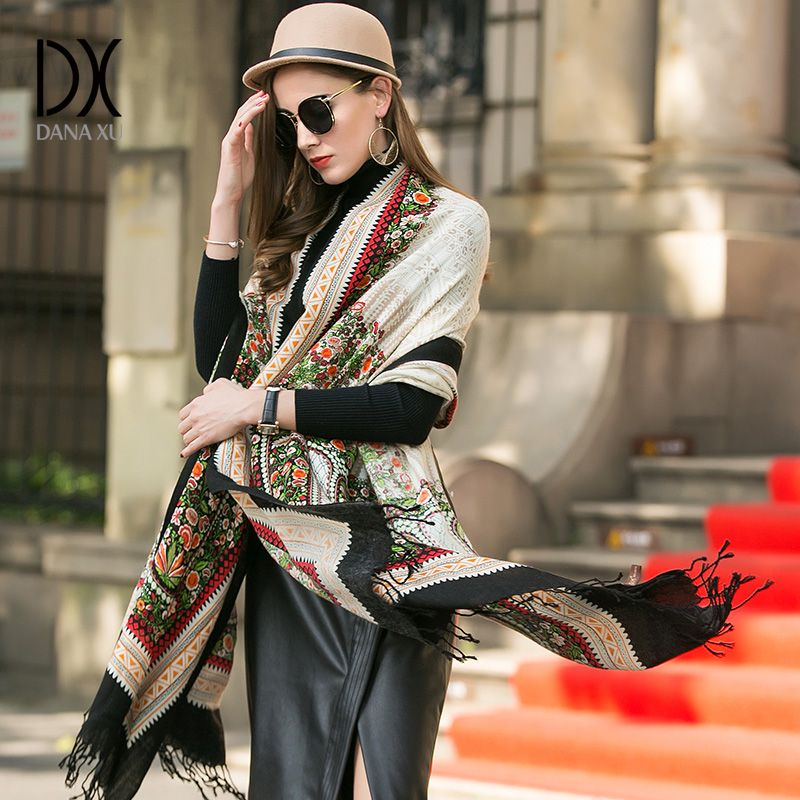 DANAXU New Winter Scarf Women Plaid Blanket Cashmere Pashmina Shawl Fashion Scarves and Shawls Luxury Brand Scarf Tops for Women