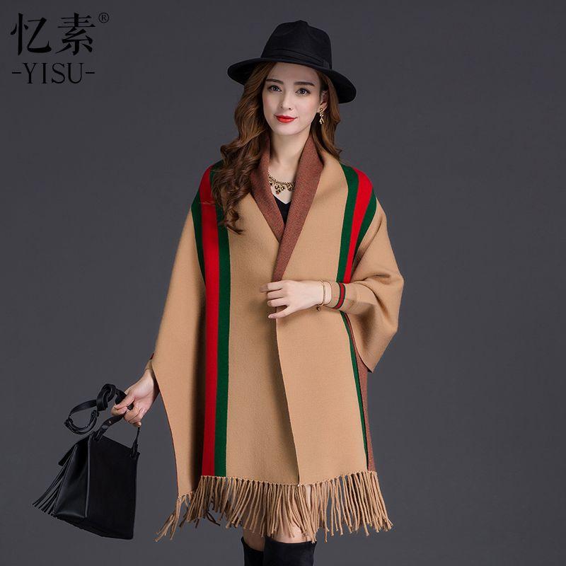 YISU 2017 Femmes hiver faux cachemire Rayures châle de mode Russie style chaud poncho foulards chandails Tricotés gland Cardigan