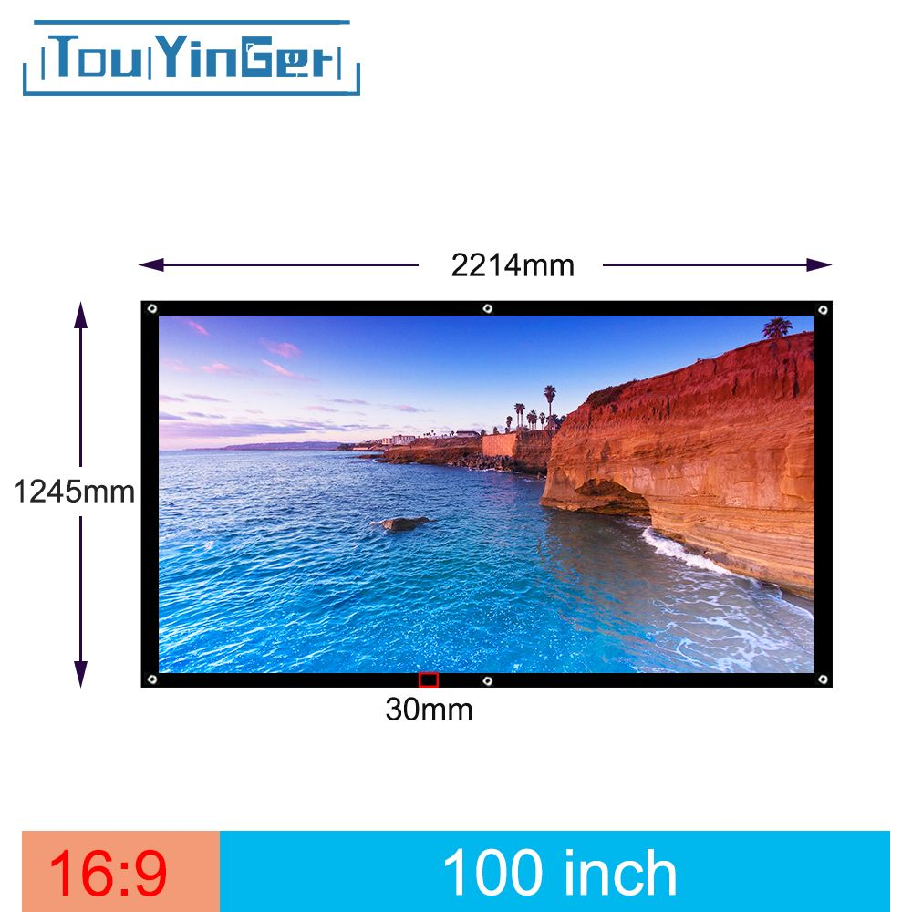 Touyinger 100 Inch 16:9 Outdoor Simple Portable Screen Travel Front & <font><b>Rear</b></font> projection screen Night Super thin projection screen