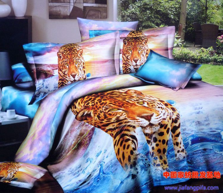3D Aqua Blue purple leopard animal print bedding  set queen size bedspread quilt duvet cover sheets bed in a bag cotton