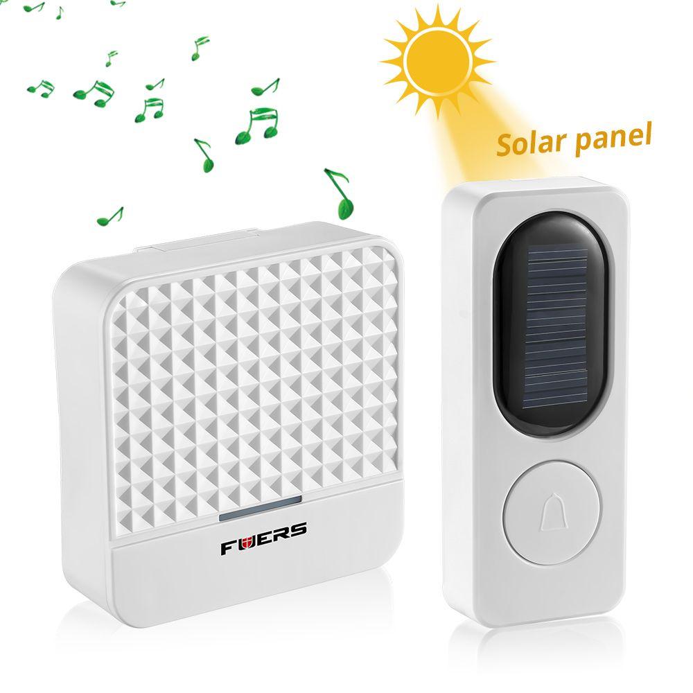 Fuers New 300M Range Solar Power Wireless Doorbell With Night Light AC 90-260V US Plug Waterproof Door Bell 52 Melody White