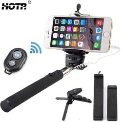 Professional Selfie Stick Kits with Bluetooth Remote Control Button and Mini Camera Tripod Extendable Tablet Mobile Phone Holder