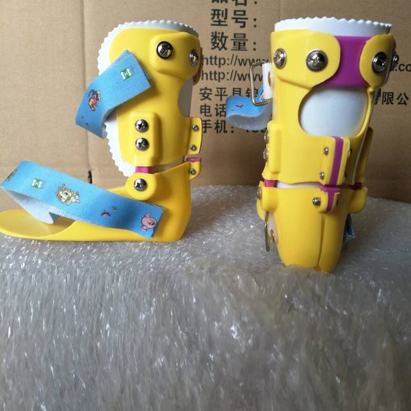Kids Ankle Foot Sprains Braces Yellow Child Foot Drop Orthosis Ankle Fracture Rehabilitation Ligament Tear Talipes Varus Valgus