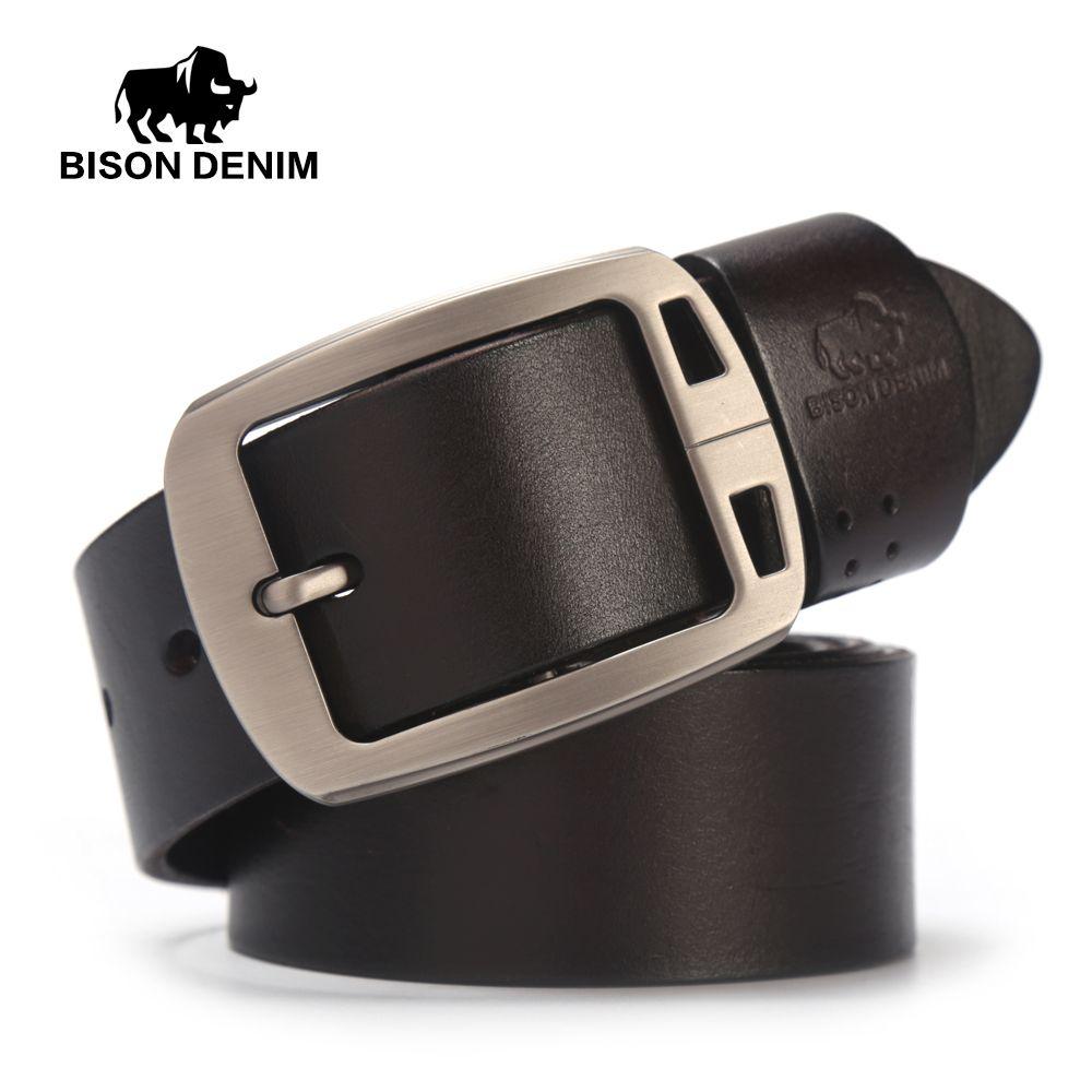 BISON DENIM Cow Genuine Leather Men's Belt Pin Buckle Accessories Male Belts Gift Designer Belt Men Jeans N70781