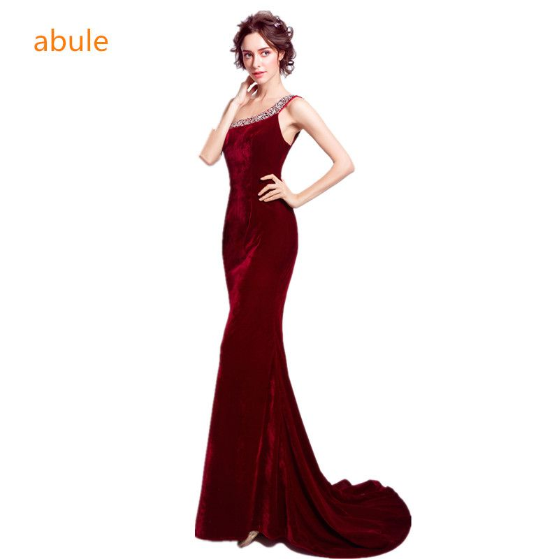 abule scoop short train long Evening Dresses mermaid prom dresses party dresses Red wine velour Robe De Soiree free shipping
