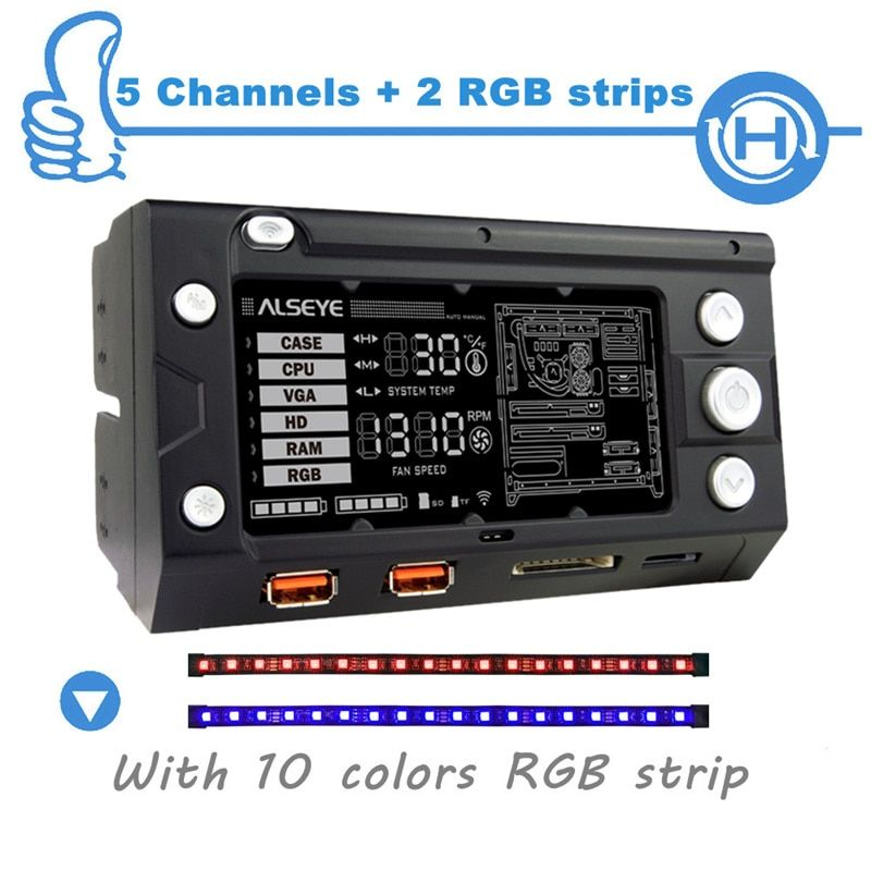 ALSEYE X-200 Fan Controller Computer fan <font><b>speed</b></font> and RGB controller 5 channels WIFI Function 2 RGB LED Strips SD/TF card reader