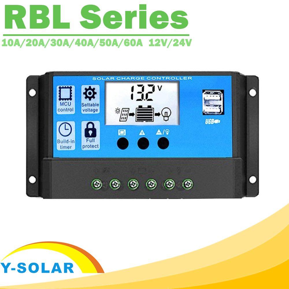 Y-SOLAR PWM 60A 50A 40A 30A 20A 10A contrôleur de Charge et de décharge solaire 12 V 24 V Auto LCD régulateur solaire avec double USB 5 V nouveau