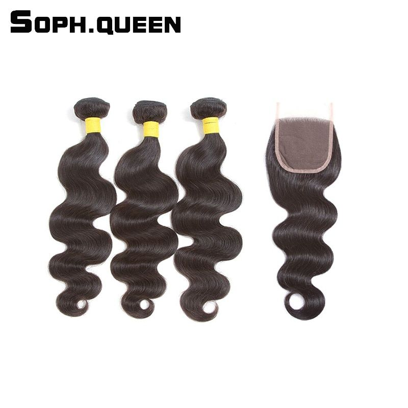 Sophqueen Remy Hair Brazilian Body Wave 3 Bundles With Closure Lace For Hair Salon PCT 15% Human Hair Bundles With Closure