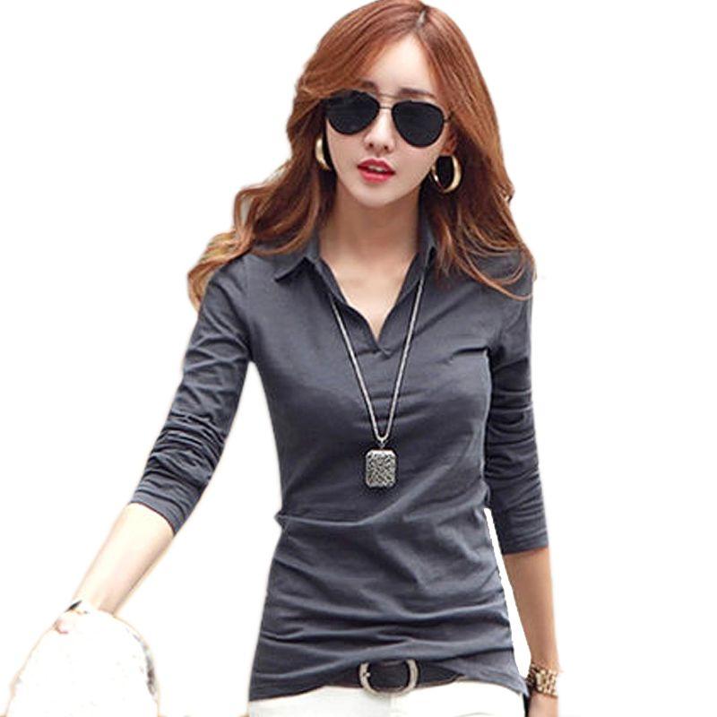 Gkfnmt t shirt femmes manches longues coton V col rabattu hauts t-shirts t-shirt femme t-shirt camiseta feminina 2017 ropa mujer