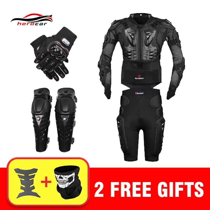 New <font><b>Motocross</b></font> Racing Motorcycle Body Armor Moto Protective Gear Motorcycle Jacket+Shorts Pants+Protection Knee Pads+Gloves Guard