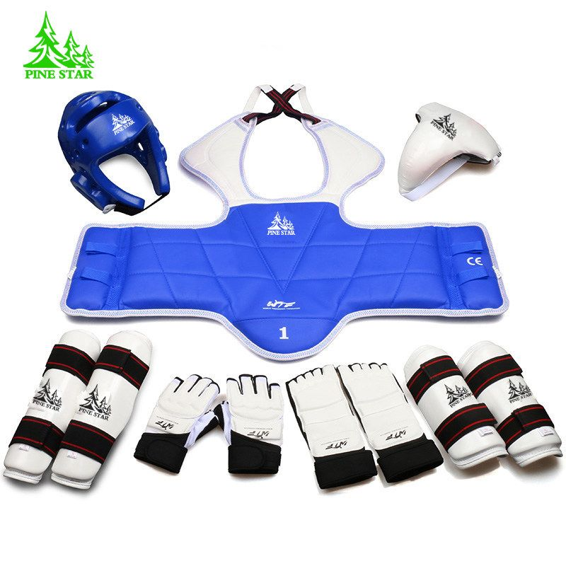 9 pieces taekwondo protectors full set of child adult Helmet Chest head protector Armguards Shank protector Crotch free shipping