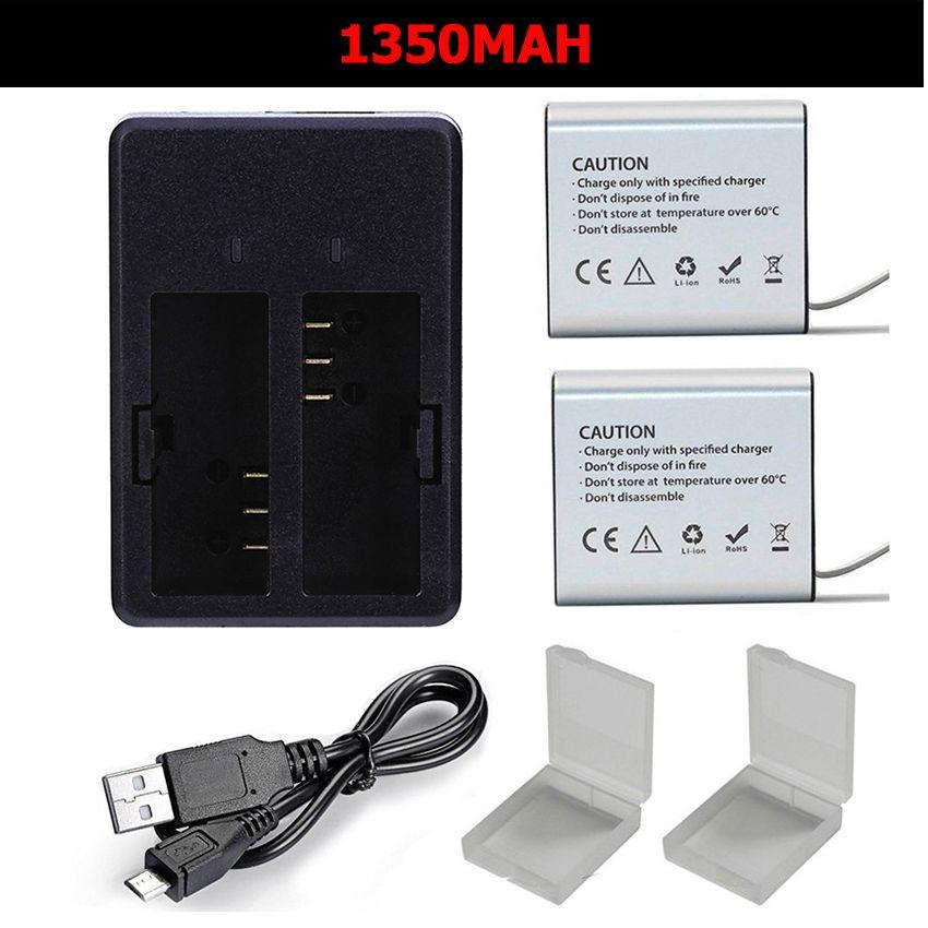 1350 mah caméra d'action Batterie chargeur double pour Eken h9r/H9 h8R/H8 V8S H5S H6S H7S SJCAM SJ4000 SJ5000 m10 GITUP DBPOWER Thieye