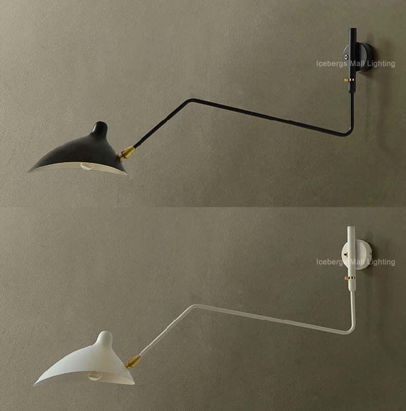 Replica Designer Serge Wall Lamp Lighting One Arm Rotating Wall Light Iron Lampshade Arandela De Parede Bedroom Sconce