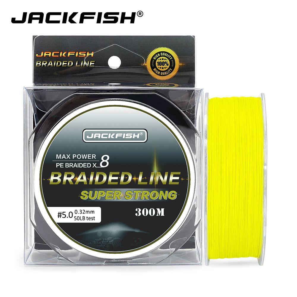 JACKFISH 300M 8 brin super fort PE tressé ligne de pêche 10-80LB Multifilament ligne de pêche carpe pêche en eau salée