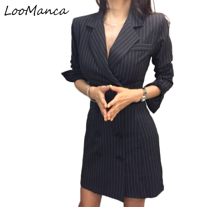 Korean Vintage Fashion Spring Autumn Female Blazers Striped Double Breasted Slim Suits Jackets Long Woman Blazers Coats
