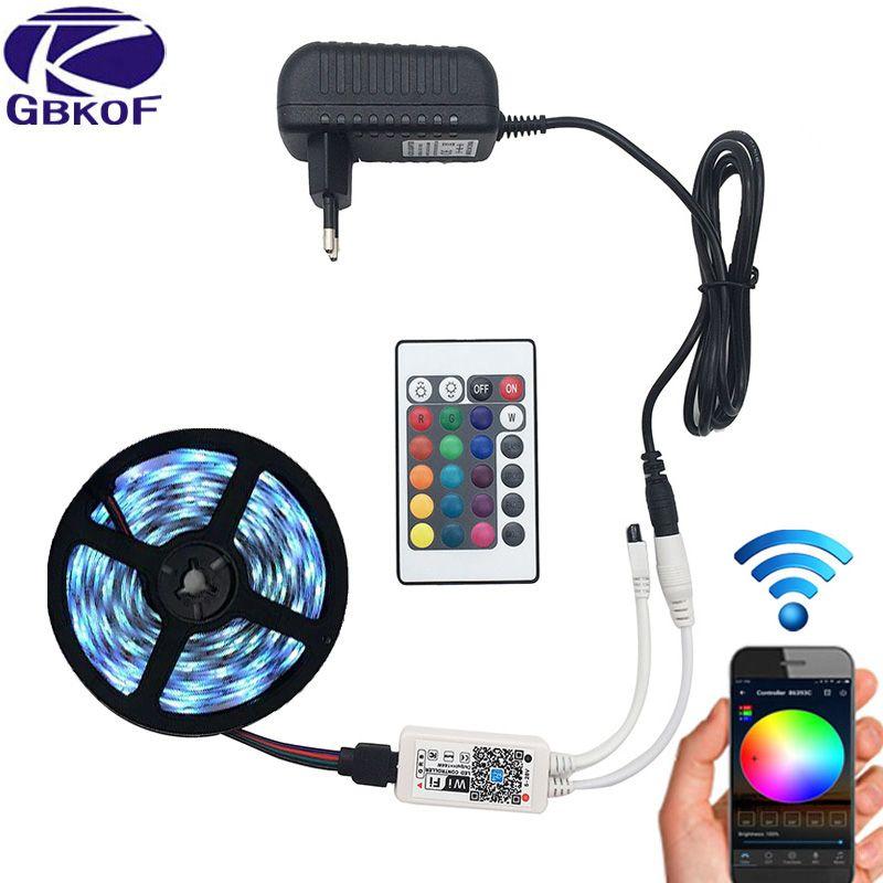 5M 5050 RGB WIFI LED Strip light Waterproof RGB 10M 15M led ribbon tape Remote WIFI Wireless Controller 12V power adapter Kit