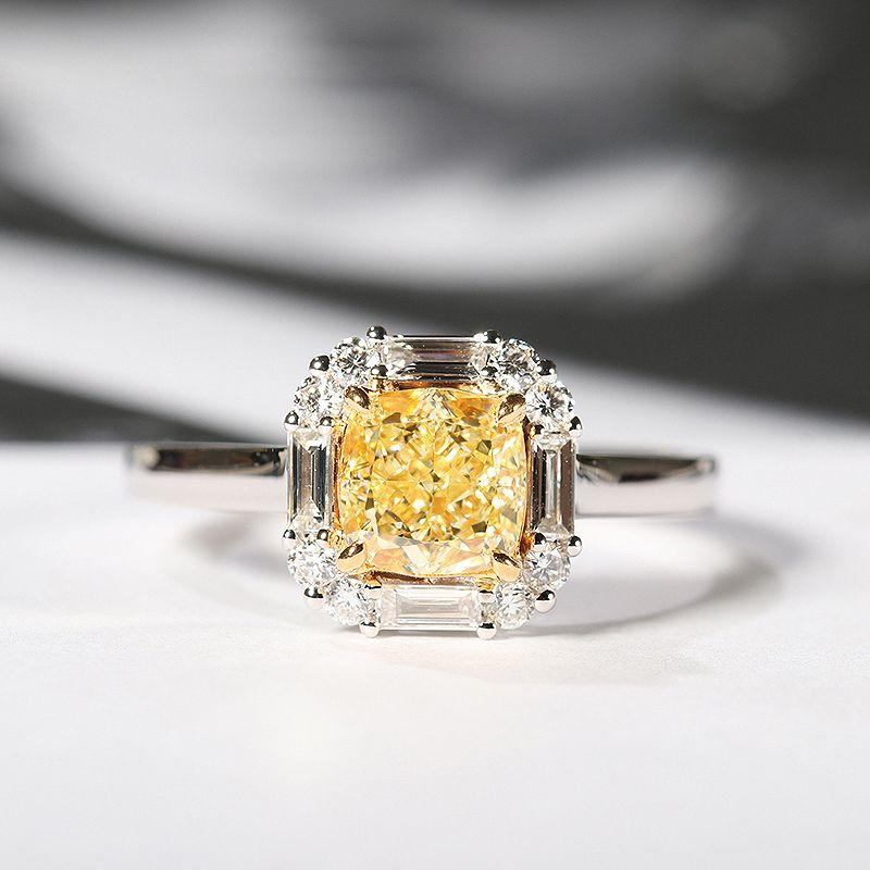 Solide 18 K Weiß Gold Gelb Moissanite Zentrum 2ct Kissen Eis Cut Seite Baguette Moissanite Hochzeit Ring Schmuck Für Frauen