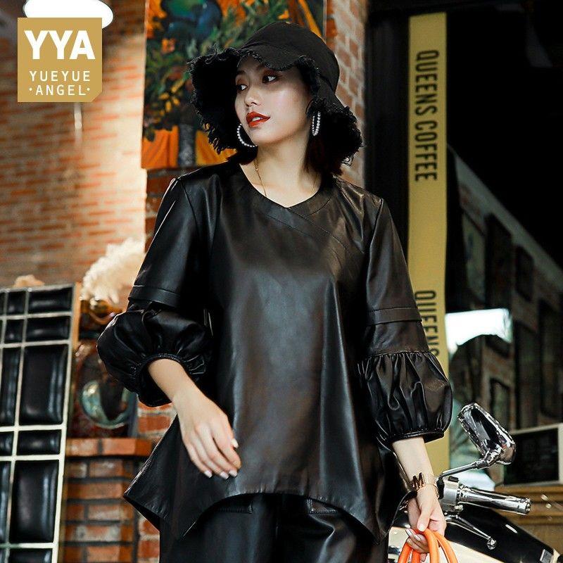 Gothic Puff Sleeve Frauen Schaffell Echt Leder Pullover Lose Fit Hip Hop Damen Unregelmäßigen Top Jacke Streetwear Kurze Tops