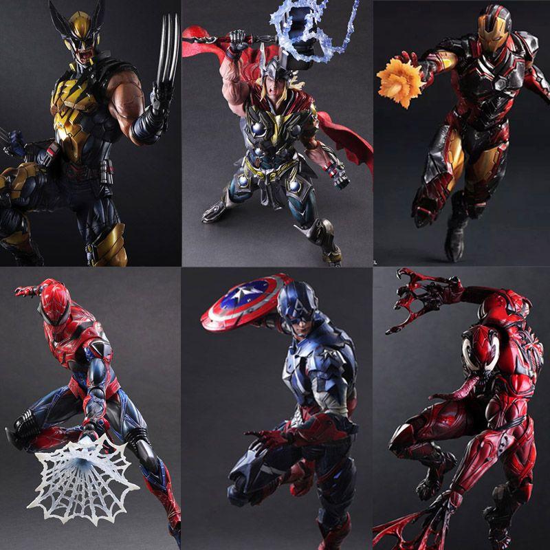 Play Arts Kai Iron Man spiderman Venom Captain America Deadpool PA Kai 27cm PVC Action Figure Doll Toys Kids Gift Brinquedos