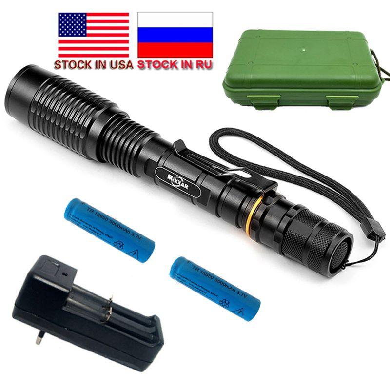 ZK20 livraison directe 5 Mode Zoomable lampe de poche LED LED V5 XM-L T6 8000LM torche LED Adapté 2*18650 Piles Stock en RU