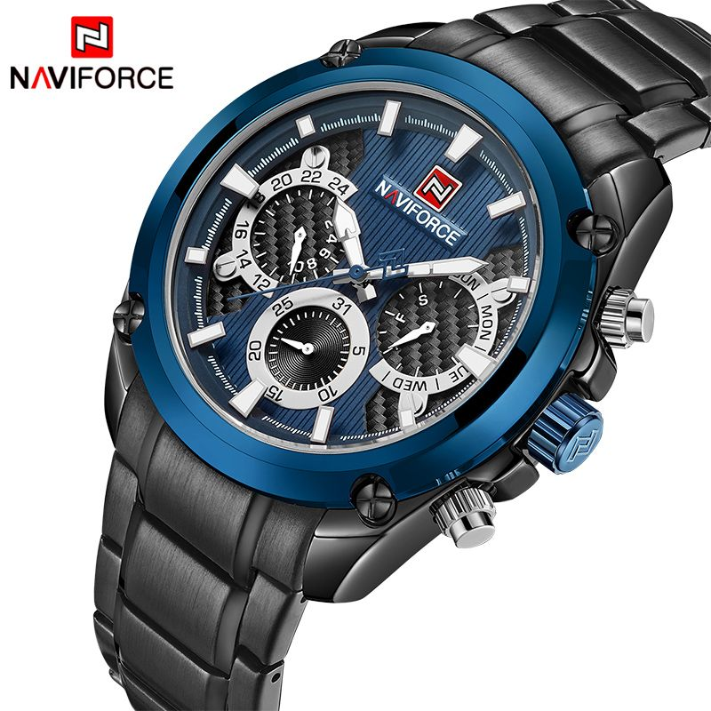 Mens Watches Top Brand Luxury NAVIFORCE Fashion Sport Multi-function Quartz-Watch Full Steel Clock Men Waterproof Wristwatches