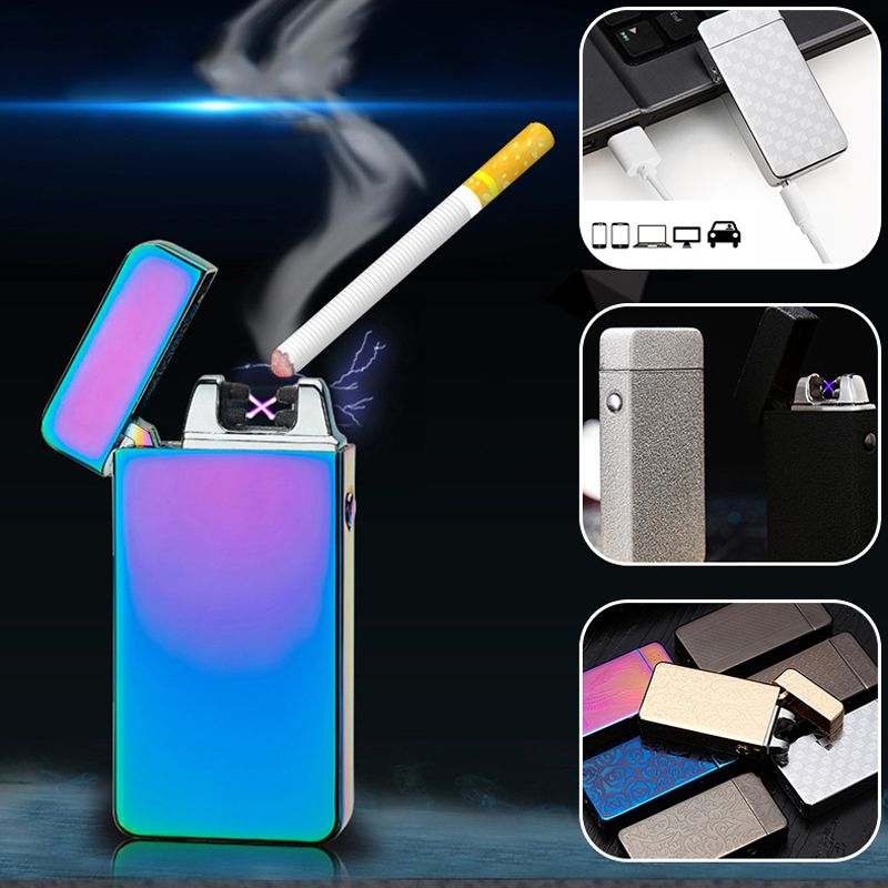 Hot! Classic Inovation Double Arc Lighter Windproof Electronic USB Recharge Lighter Cigarette Smoking Electric Lighter 15 Colors