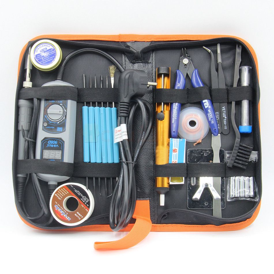 YIHUA 908D Adjustable thermostat Electric soldering iron set Welding repair tools kit set tweezers solder Iron tip
