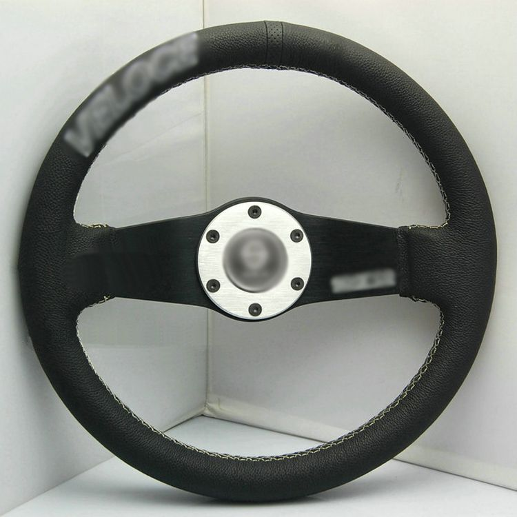 Ipoboo New Universal Fits Racing Sport 13033A/320mm PU Leather Deep Dish Alloy Steering Wheel