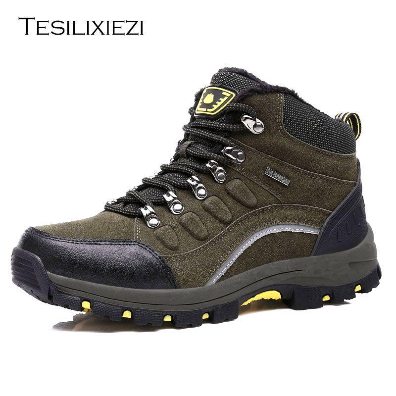 Men Outdoor Hiking Boots Waterproof Non slip Mountaineering Shoes Trekking Hiking Shoes Climbing Stability Anti slip Shoes