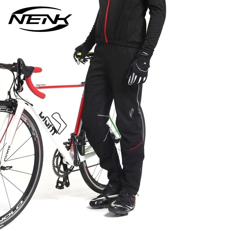 NENK Cycling Bike Bicycle Pants Man Thermal Fleece Bike Pants Equipment Windproof Pants Sports Outdoor Winter Autumn Trousers