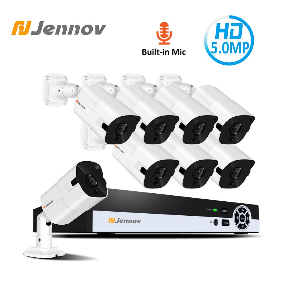 Jennov 5.0MP H.265 Sicherheit Kamera System NVR Kit Video Überwachung POE IP Cam CCTV Set Audio Record P2P HD Nacht vision