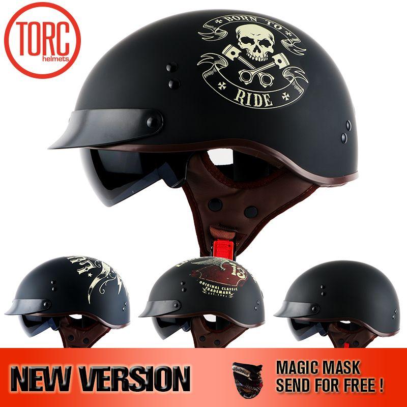 TORC 2017 Harley helmet With Inner Sun Visor Vintage Half Face Motorcycle summer Helmet Casco Casque Moto Retro Helmets DOT T55