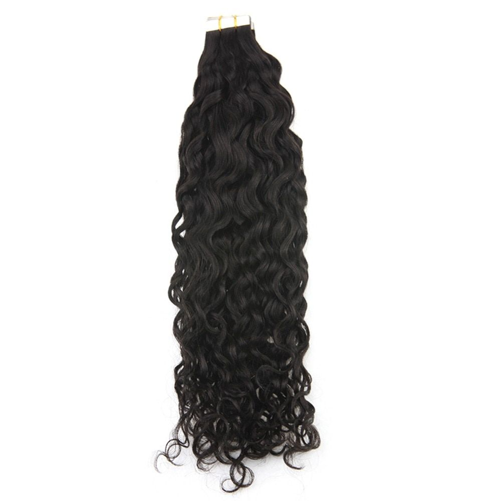 Full Shine 50 Gram 20 Pcs Per Package Natural Black Tape in Wavy Hair Extensions Adhesive Tape Hair Extensions Tape on Hair