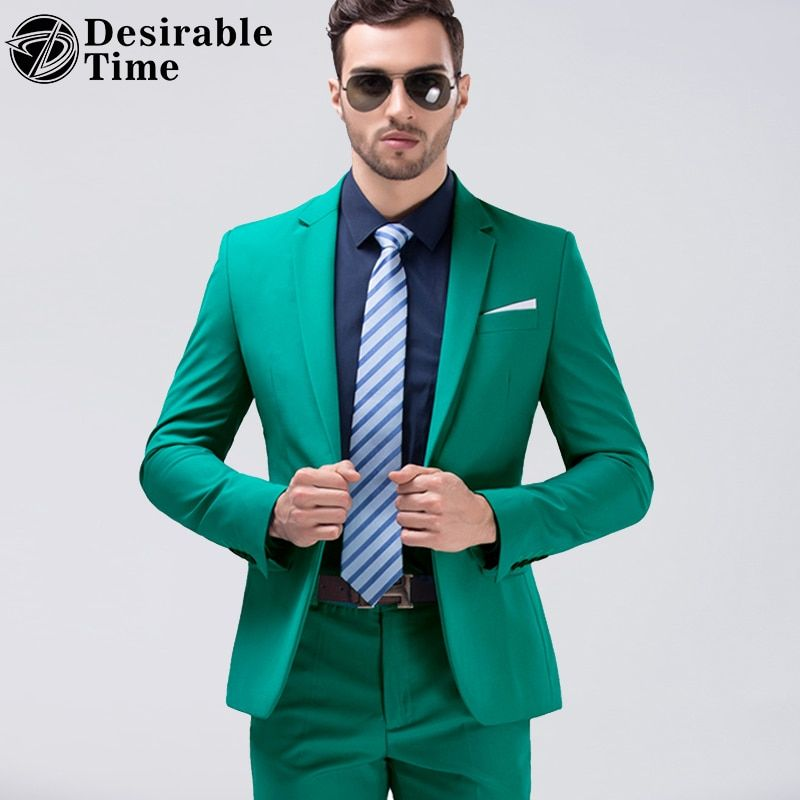Desirable Time Men Green Party Suit Slim Fit New Fashion Purple and White Wedding Suit Men DT356