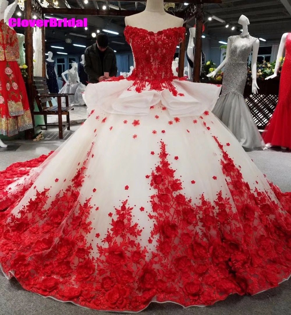 CloverBridal off the shoulder ball gown red and white lace appliques floral chapel train wedding dresses lots flowers