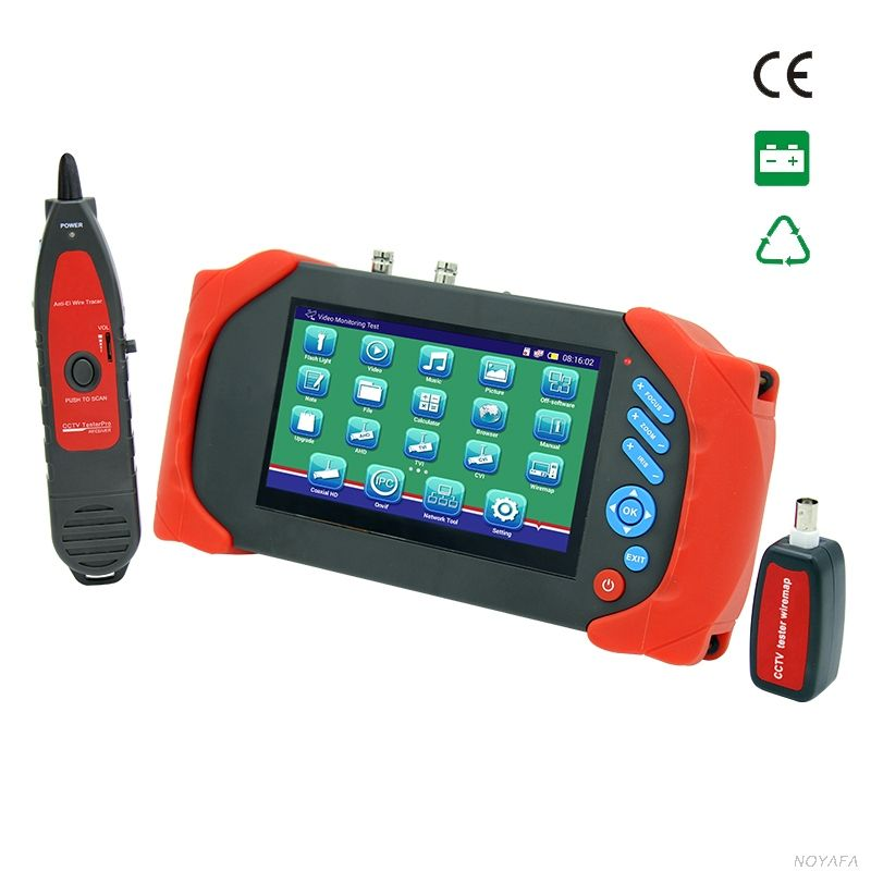 Free shipping, NOYAFA multifunction CCTV Tester with AHD IP CVI TVI Cameras with cable tester for length testing wire locator