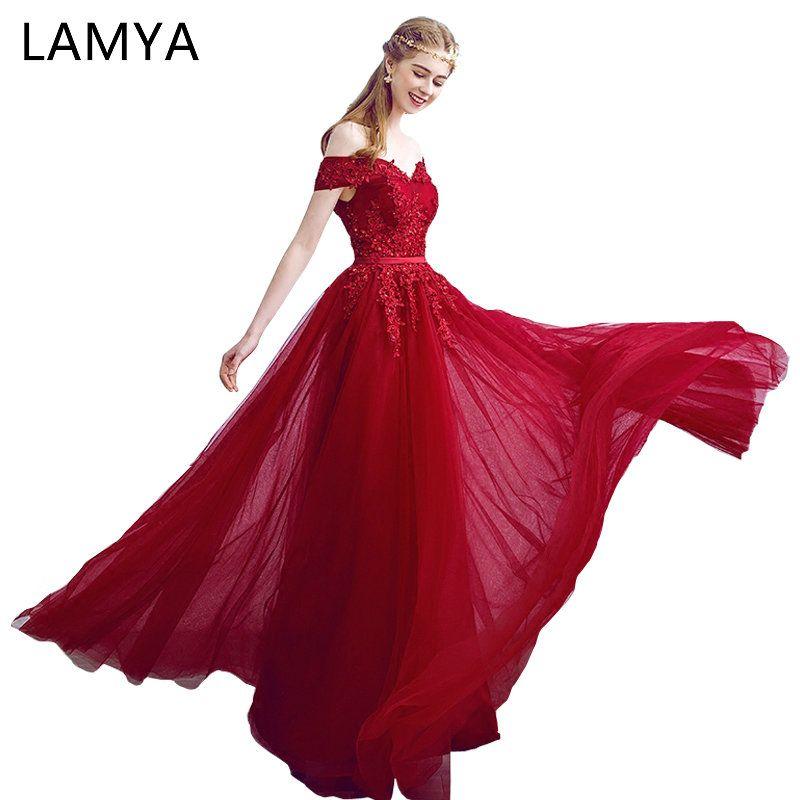 Lamya 2018 New Women Prom Long Evening Dresses Elegant Lace Boat Neck Banquet Formal Party Gowns vestido de festa longo