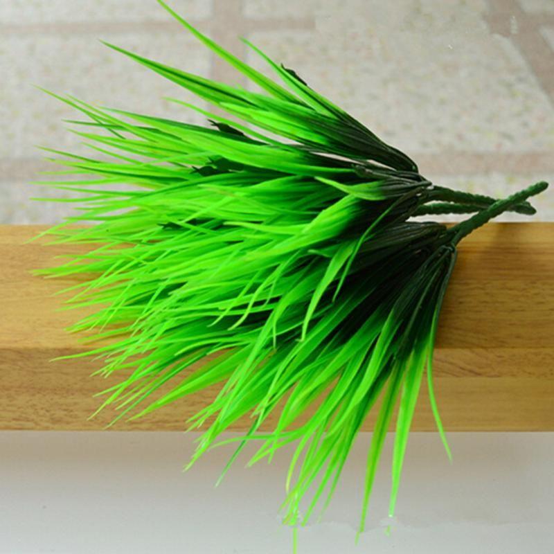 10 Pcs/lot 7 Fourchette Artificielle Plantes Vertes Couronnes En Plastique Frais Herbe pour la Décoration De Mariage La Maison Magasin de Décoration Fleurs