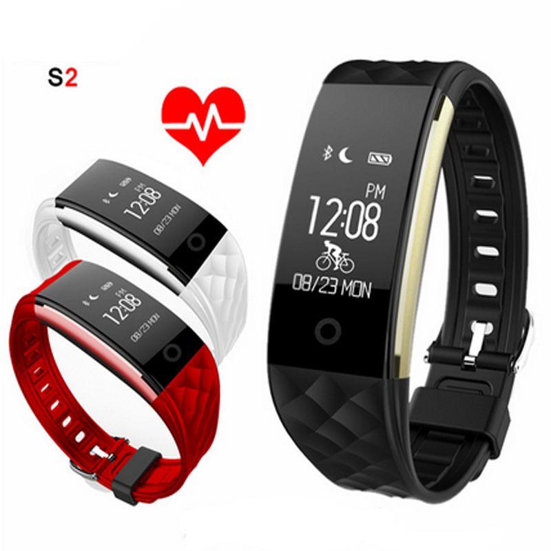 Bracelet intelligent S2 Bracelet de fréquence cardiaque podomètre IP67 Bracelet Smartband étanche pour téléphone Android IOS