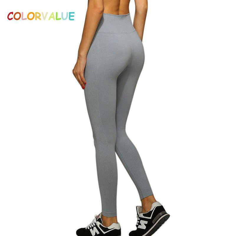 Colorvalue High <font><b>Flexible</b></font> Solid Yoga Leggings Women Push Up Seamless Sport Workout Leggings Anti-sweat Comfortable Gym Leggings