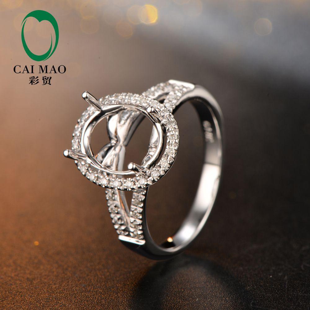 8x10mm Oval Shape 14K White Gold & 0.21ct Diamond Engagement Semi Mount Setting Ring