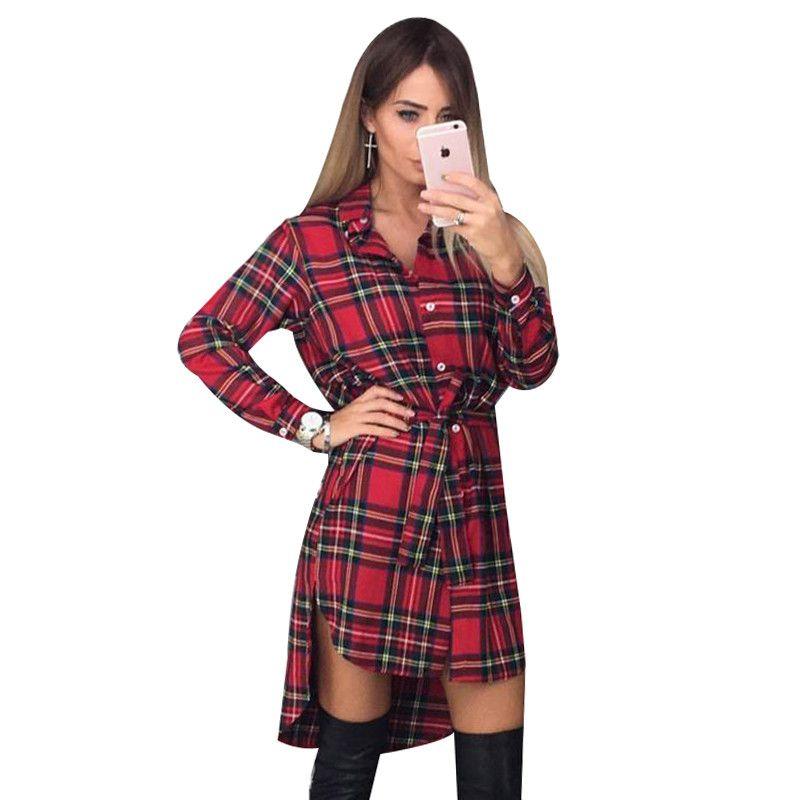 Новое Женское платье пикантные с длинным рукавом деловая модельная одежда нерегулярные Рубашки в клетку Платья для женщин женская одежда ...