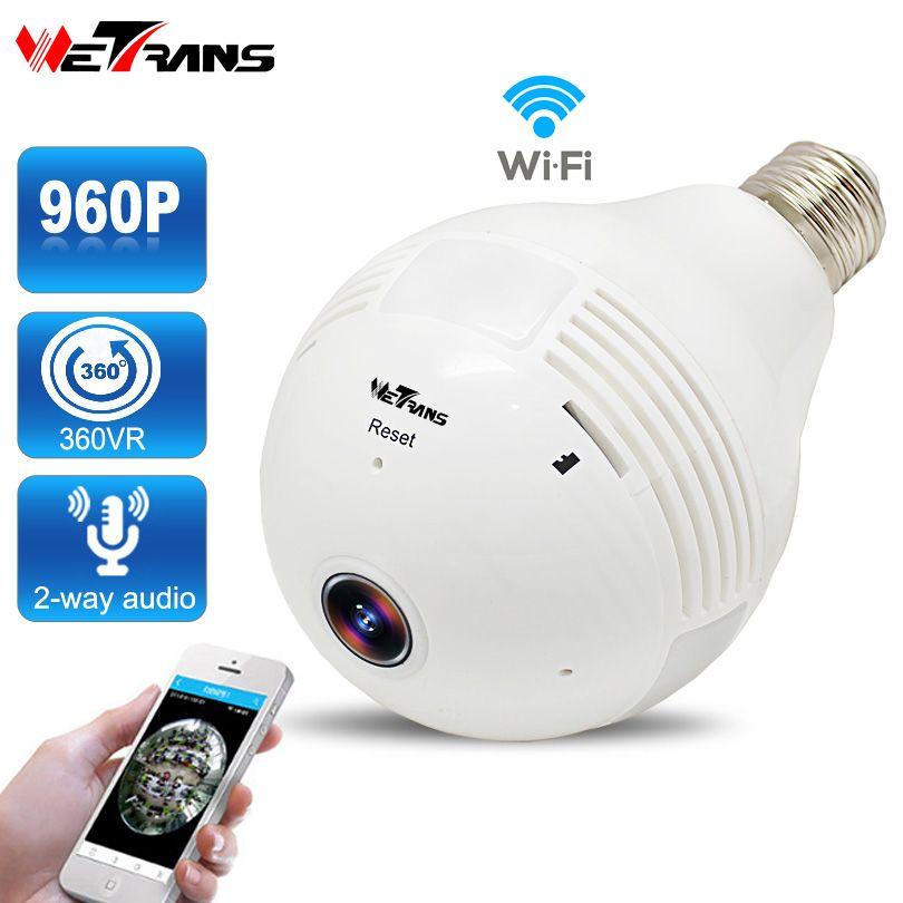 Ampoule Sans Fil IP Caméra de Surveillance HD 960 P P2P Fisheye 360 Degrés Panoramique Vue Complète Audio Wifi de Sécurité À Domicile caméra
