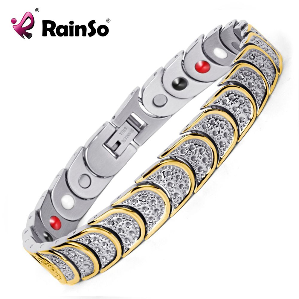 Rainso Fashion Jewelry Magnetic Health <font><b>Care</b></font> Elements Magnetic FIR Germanium 316L Stainless Steel Bracelets For Men OSB-768