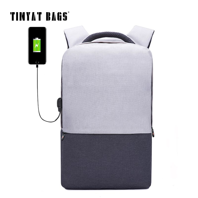 TINYAT Men Laptop Backpack For 15.6 inch USB Charging Backpacks Computer Anti-theft Bags Male Gray Daypack Women Mochila T810
