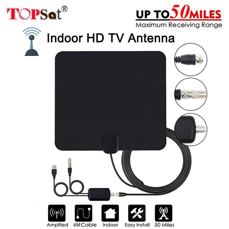 Antenne Numérique HD TV 50 Miles Gamme Numérique Amplificateur TV Antenne DVB-T/T2 tdt TV Intérieur Antennes DVB-T2 pour satellite Recevoir
