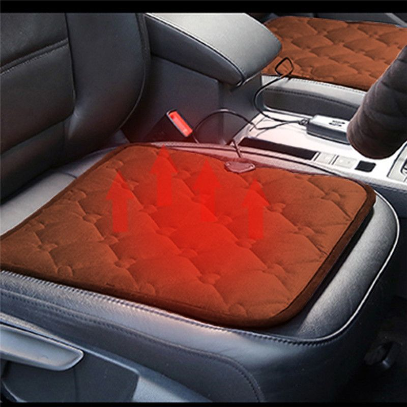 Winter Car Heated Cushion Office Chairs Electric Heated Black Coffee Color Seat Cushion Carbon Fiber Electric Heating 12v